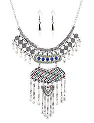 European Retro Diamond Earrings Necklace Set Tassel DropImitation Diamond Birthstone