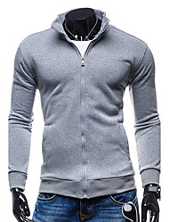 Men's Long Sleeve Hoodie & Sweatshirt,Cotton Solid