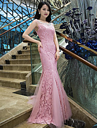 Evento Formal Vestido Trompeta / Sirena Cuchara Larga Encaje con Detalles de Cristal