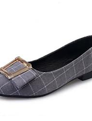 женская обувь ткани решетчатыми комфорт / острым носом квартиры офис&карьера / вскользь низкий каблук черный / серый