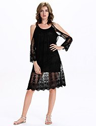 Women's Club Sexy A Line / Lace Dress,Solid Strap Knee-length Long Sleeve Black Polyester / Others Summer