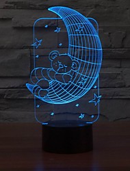Lovely 3D Table Lamp LED Night Light Bear Moon Shape for Baby Room Color-Changing Night Light