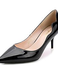 Women's Shoes PU Summer Pointed Toe Heels Casual Kitten Heel Applique Black / Blue / Gray / Burgundy