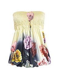 Women's Print Yellow T-shirt,Strapless Sleeveless