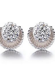 Women 925 Fine Silver Sea Shell Stud Zircon Earrings for Wedding Party