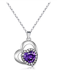 Women's Couple's Pendant Necklaces Crystal Crystal Cubic Zirconia Alloy Fashion Adorable Simple Style Purple Transparent JewelryWedding
