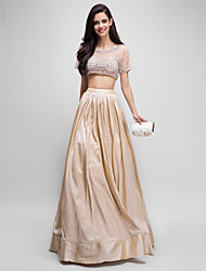 Prom Formal Evening Dress - Two Pieces A-line Scoop Floor-length Taffeta Tulle with Beading