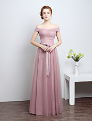 Floor-length Satin / Tulle Bridesmaid Dress - Sheath / Column Off-the-shoulder with Bow(s)