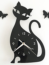Diy Mirror Wall Clock Bedroom Special Living Room Mute Wall Clock Cartoon Cute Black Cat Wall Stickers Clock