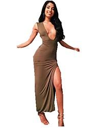 Gaine Robe Aux femmes Décontracté / Quotidien Sexy,Couleur Pleine V Profond Maxi Sans Manches Marron Coton Eté