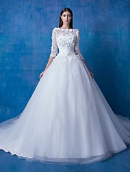 Ball Gown Wedding Dress See-Through Chapel Train Bateau Lace Satin Tulle with Flower Lace Sequin