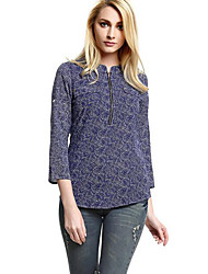 Women's Casual/Daily Vintage Summer Zipper Chiffion Blouse ,Print Round Neck ¾ Sleeve Blue