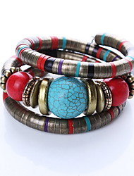 Brown/Red Layered Bangle Bracelet