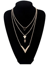Simple V-Shaped Surface Plus Three Cross Necklace