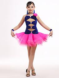 Latin Dance Dresses Children's Performance Tulle / Velvet Crystals Flower(s) 4 Pieces Fuchsia / Green