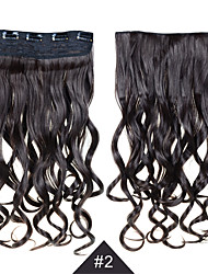 Clip In Synthetic Hair Extensions 24 inches 60cm Long 5 Clips In Hair #2 Natural Black Clip In Synthetic Curly Wavy