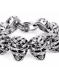 Bracciali Bracciali con ciondoli Acciaio inossidabile A forma di teschio Stile punk Quotidiano Gioielli Regalo Argento,1 pezzo