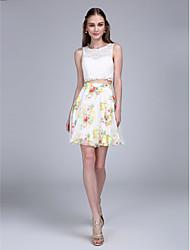 2017 ts couture® prom Cocktailparty Kleid a-line Juwel kurz / Mini-Chiffon / Spitze