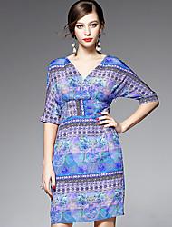 AFOLD® Femme Col en V Manches 1/2 Genou Robes-5503