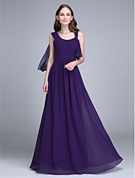 Lanting Bride® Floor-length Chiffon Bridesmaid Dress - Sheath / Column Straps with Ruching