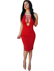 Women's Simple Solid Bodycon Dress,V Neck Knee-length Polyester