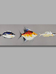 "Stretched (Ready to hang) Hand-Painted Oil Painting 48""x16"" Canvas Wall Art Modern Abstract Fishes Pop-art"