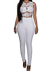 Women's  Mesh Lace Applique Jumpsuit