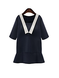 Women's Casual/Daily / Plus Size Simple Sheath Dress,Solid Round Neck Mini ½ Length Sleeve Blue / White / Black Acrylic Summer