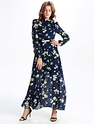 Women's Formal Boho Chiffon Dress,Print Shirt Collar Maxi Long Sleeve Blue Polyester / Others All Seasons