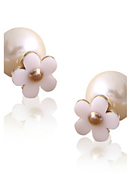 Personality Lovely Gorgeous Pearl Lady Star Flowers Both Sides Stud Earrings