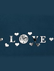 LOVE Dimensional Acrylic Mirror Wall Sticker Clock
