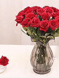 1 1 Ast PU / andere Rosen Tisch-Blumen Künstliche Blumen 17.3*2.95inch/44*7.5