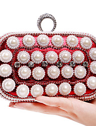 L.WEST Women's The Elegant Luxury Handmade Flowers Pearl Diamonds Evening Bag