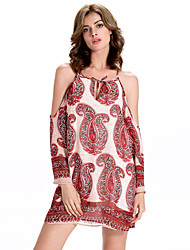 Women's Casual/Daily Sexy A Line / Chiffon Dress,Print Strap Above Knee Long Sleeve Pink Polyester / Others Summer