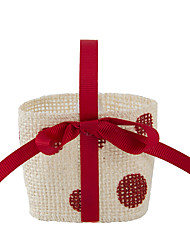 6pc Red Fabric Favor Tins and Pails Basket for Flower /Candy Decoration (8.5 * 8.5 *6cm)