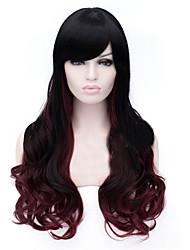 la nouvelle perruque gradient noir vin des points rouges perruques de cheveux longs 28 pouces
