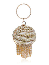 Women Evening Bag Polyester All Seasons Wedding Event/Party Formal Ball Rhinestone Crystal Pearl Detailing Kiss Lock Gold Black Silver