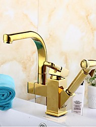 Contemporary  Single Handle Golden Finish Pull-Out  Spray  Kitchen Faucets