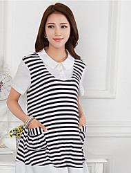 Maternity Shirt Collar Ruched Blouse,Cotton Short Sleeve