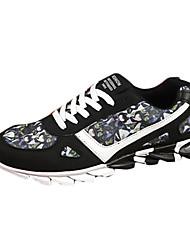 sapatos masculinos pu sapatilhas da forma atlética atlético executando outros salto planas preto / azul / cinza