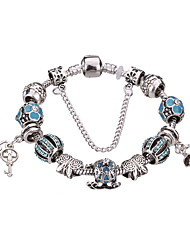 Antique Silver Plated Lock Pendant Beads Strands Bracelet  #YMGP1012