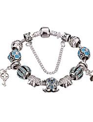 Feminino Meninas´ Pulseiras com Pendentes Bracelete Pulseiras Strand Pulseiras Prata Cristal Strass Prata Chapeada LigaDurável Moda