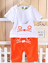 Boy's Casual/Daily Print Clothing Set,Cotton Summer Orange / Gray