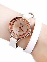 Mulheres Relógio de Moda / Relógio de Pulso / Bracele Relógio Quartz Relógio Casual Couro Banda Flor / BoêmioPreta / Branco / Azul /