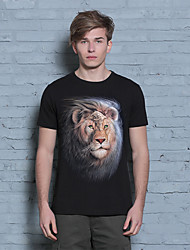 Men's Summer Fashion Popular Short Sleeve Round Neck  Personality Lion T-shirts