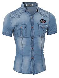 Men's Fashion Slim Double Pocket Decoration Denim Short Sleeved Shirt,Cotton / Polyester Short Sleeve Blue