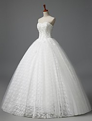 A-line Wedding Dress Floor-length Strapless Lace with Flower