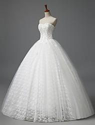 А-силуэт Свадебное платье В пол Без бретелей Кружева с Цветы