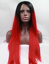 Fashion Long Straight Synthetic Lace Front Wig Glueless 1B/Red Color Wigs