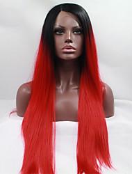 de manera recta larga de encaje sintético peluca delantera sin cola 1b / pelucas de color rojo